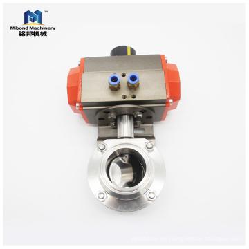 Válvula de mariposa neumática sanitaria del actuador de SUS304 / 316L 1 / 4inch-10inch