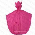 PVC /Polyyester Pink Color Kids PVC Rain Poncho / Rain Cape