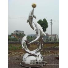 Нержавеющая сталь открытый большой статуя животных фонтан статуя дельфина