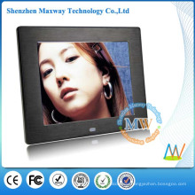 Brushed metal frame 8 inch simple function digital photo frame