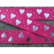 Fashion design grosgrain ribbon with sliver metallic heart printed shiny ribbon