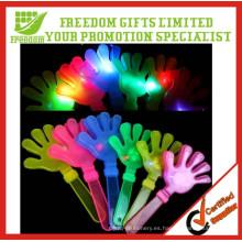 Animación promocional colorida chapaleta de mano de plástico que destella led