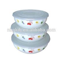 Emailleschüsseln Geschirr mit Deckel dekoriert