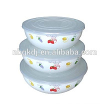 enamel bowls tableware decorared with cover