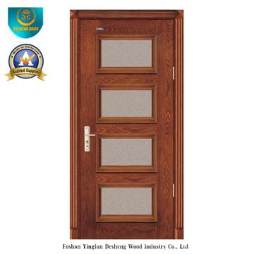Porta de madeira maciça estilo moderno com vidro para interior (ds-8024)