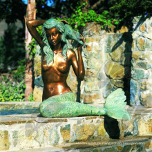 Beautiful Life Size Cast Bronze Nude Woman Mermaid Fountain for Garden Decoration