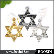 Manufacturer Wholesale Gold/Silver/Black Star of David Pendant #19050
