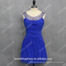 RP0139 Redondo decote com contas reunidas royal blue sexy fábrica senhora moda royal pictures of cocktail dresses