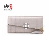 Custom fancy thin zipper leather money clip wallet