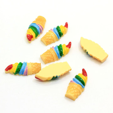 Rainbow Ice-cream Cabochons Flatback Ice-cream Cone Resin Slime Charms For Handcraft Accessories Scrapbooking Phone Case Decor