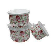 3PCS Enamel flower Decal Storage Bowl Carbon Steel bowl