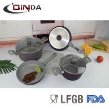 6шт кованые индукционно дно мраморным покрытием наборы посуды