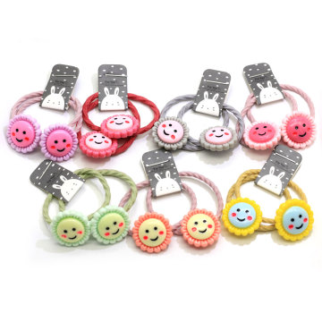 New Products Cute Hair Colorful Elastics Ponytail Holder Kawaii Smile Face Headband Hair Tie Band For Baby Toddler Girls
