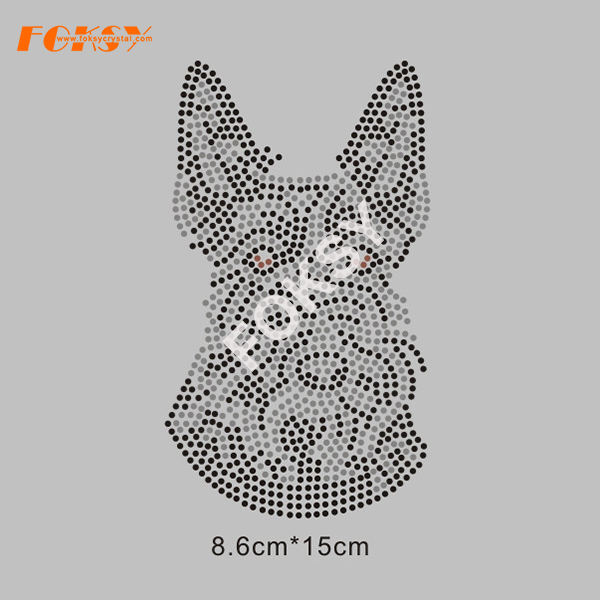 Anpassad Hot Fix hund Motiv Rhinestone Heat