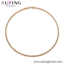 44187 Xuping venda quente simples 18 k banhado a ouro cadeias de atacado colar China fábrica