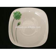 Cuenco de porcelana blanca al por mayor, cuenco de ensalada cuadrado, cuenco de sopa cuadrado