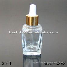 35ml clear square essential oil bottle with aluminum dropper cap
