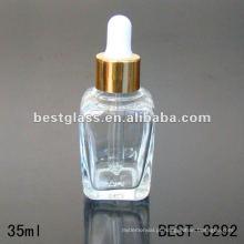 Frasco de óleo essencial quadrado claro 35ml com o tampão de conta-gotas de alumínio