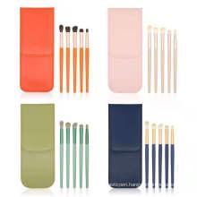 LOW MOQ LOGO Custom Best Selling 5pcs Eye Shadow Brushes With Matte Wooden Handle Makeup Brushes Set