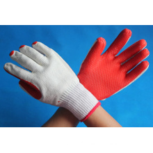 red rubber coated cotton gloves