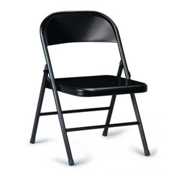 Black Folding Chair, Metal Backrest Chairs for Office