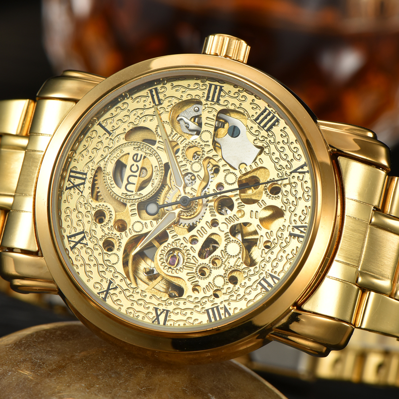 Luxury gold steel skeleton women dress watch