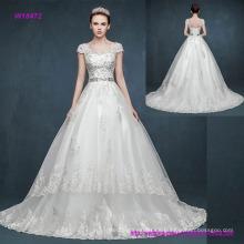 Vestido de novia retro con cuello en V y mangas casquillo