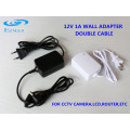 12V 1A cable doble Fuente de alimentación CCTV adaptador 5.5 * 2.1mm