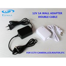 12V 1A Двойной адаптер кабельной стены Блок питания CCTV 5.5 * 2.1mm