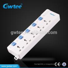 Универсальная электрическая розетка с 5 выходными розетками с индивидуальными выключателями
