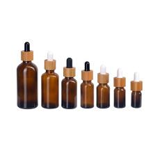 5ml 10ml 15ml 20ml 30ml 50ml 100ml amber essential oil bottle with bamboo dropper lid