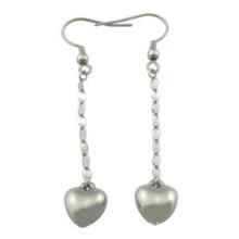 Weiß überzogener Füller-Herz-Bügel-Ohrring