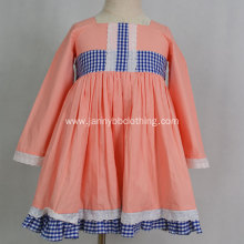 latest dress design pink long sleeve girl dress