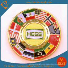 Moneda de Chanllenge del esmalte suave de encargo de la bandera a todo color para el recuerdo