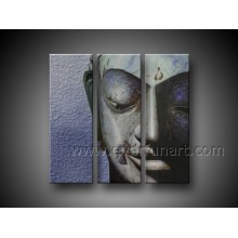 100% Hand Painted Buddha Face Oil Painting on Canvas