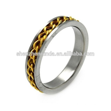 5MM EDELSTAHL ZWEI TONE CURB LINK INLAY MENS RING