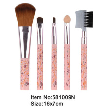 5pcs print plastic handle portable makeup brush kit