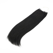 Human Hair Virgin Remy Hair 18 Inch Dark Color Double Drawn No Tip Hair with Micro Ring