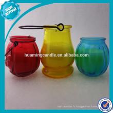 Bougie de cire de soja purifiée organique dans un pot en verre