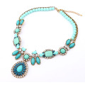 Fashion brand Crystal Flower statement necklace resin women choker Necklace Exaggerate luxury Chunky wholesale Jewelry