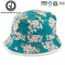 OEM Algodão de algodão personalizado estilo de pesca Flower Print Bucket Hat