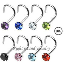 Wholesale Price Prong Set CZ Nose Screw Jewelry