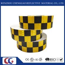 Cinta reflectante de visibilidad de diseño de rejilla negra / amarilla (C3500-G)