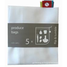 sacola de compras com cordão em malha de poliéster barata e personalizada
