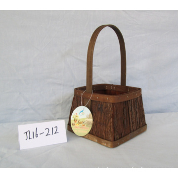 Square Wood Bark Basket