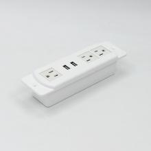 Blanco 3 enchufes con 2 puertos USB