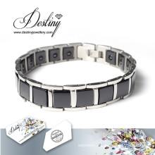 Destin bijoux cristaux de Swarovski Bracelet noir Bracelet céramique