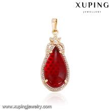 32864 Venta al por mayor elegante joyería de mujer gota de agua en forma de imitación colgante de piedras preciosas