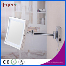 Miroir de maquillage de salle de bain pliable carré unique Fyeer LED