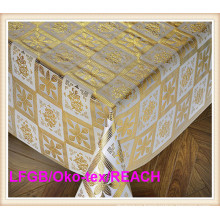 137cm Width Gold PVC Crochet Tablecloth on Roll Factory